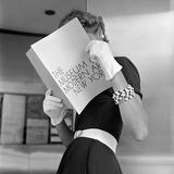 Model Jean Patchett Modeling Cheap White Touches That Set Off Expensive Black Dress Reproduction d'art par Nina Leen