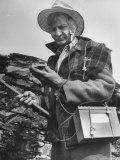 Uranium Prospector Clarence Cody Using Homemade Geiger Counter