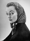 Lantern Paisley Printed Babushka Worn by a French Model  Designed by Hubert de Givenchy