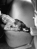 Judy Gordon Lying on Car Seat  Woozy with Car Sickness