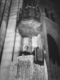 Dr Harry Emerson Fosdick Delivering Sermon From the Pulpit of Riverside Church