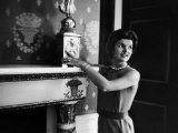 First Lady Jacqueline Kennedy Showing Off James Monroe Era Candelabrum in White House