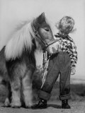 Child Standing Beside a Miniature Horse  Showing Size Comparison