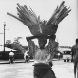 Nigerian Woman Carrying Large Basket of Wood on Her Head