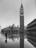Flooded Piazza San Marco with St Mark's Church in the Background