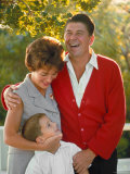 California Governor Candidate Ronald Reagan  Wife Nancy and Son Ronnie at Home on Ranch
