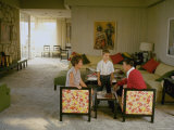 California Governor Candidate Ronald Reagan  Wife Nancy and Son Ronnie in Living Room at Home