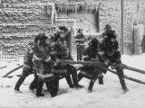 Firemen Fighting a Fire During Icy Weather