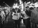 Frenchmen Reading Newspaper Reports of John F Kennedy's Assassination