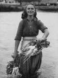Girl Farm Worker Washing Turnips from River  on Collective Farm