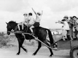 Israeli Children of Habad Sect  Frolic with Horse and Cart at Farm Village