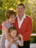 Actor and California Gubernatorial Candidate Posing with Wife Nancy and Son Ronnie Outside at Home