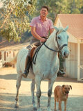 California Governor Candidate Ronald Reagan Riding Horse Outside at Home on Ranch