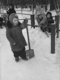 Kindergartens Outside Playing in the Snow in Russia