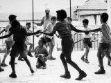 Jewish Children at Religious School Dancing Israel Folk Dances at Recess