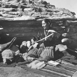 Navajo Jessie Gorman Spinning Wool For Blanket Weaving