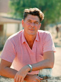 Casual Portrait of California Governor Candidate Ronald Reagan Outside at Home on Ranch