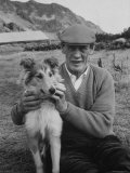 Descendant of Colony&#39;s Founder of Tristan Da Cunha Islander with Pet Collie
