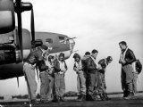 B-17 Flying Fortress Crew of 8th Bomber Command Donning Their Flying Gear Upon Arrival by Jeep
