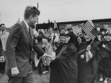 Irish Schoolchildren Waving Flag as They Greet President John F Kennedy