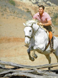 California Governor Candidate Ronald Reagan Riding Horse at Home on Ranch