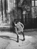 East German Girl Playing with a Spinning Top