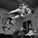 Walter Karcz Leaping in Air as Fellow Members of Amateur Dance Group Practice the Gorlaski