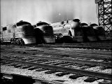 Super Chief and El Capitan Locomotives from the Santa Fe Railroad Sitting in a Rail Yard