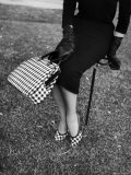 Big Checked Handbag with Matching Shoes  New Mode in Sports Fashions  at Roosevelt Raceway