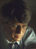 Pensive Portrait of Presidential Contender Bobby Kennedy During Campaign