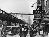New York Street Scene  with Pedestrians Passing Pawn Shop with Elevated Sixth Ave Subway Line