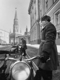 Kremlin Motorcycle Police Escort Waiting For Harold Macmillan Visiting Khrushchev