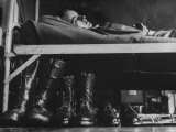 Draftee Relaxing on His Bunk During Basic Training