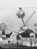 Atomium Towering over Belgian Folklore Exhibit at Brussels World's Fair
