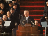 President Lyndon Johnson Speaking at His Inauguration