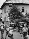 Boys and Girls Playing Volleyball