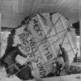 Redwood Tree Section Lowered to the Floor of the US Pavilion  Brussels World's Fair