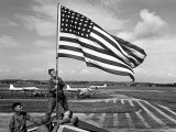 Soldiers Raising American Flag at Atsugi Airbase as First American Occupation Forces Arrive