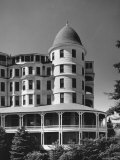 Oceanside Hotel with Two Story Veranda and Cupola on Corner