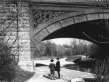 Two Boys Standing under the Ornate Arch of a Bridge in Prospect Park  Brooklyn  Ny