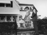 Senator John F Kennedy with Wife Jackie and Daughter Caroline at Family Summer Home