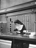 Nun Using Card Catalogue in the New York Public Library