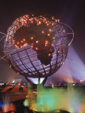 Unisphere Globe Illuminated in Darkness of World&#39;s Fair