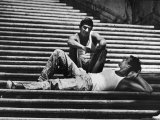 Two Young Italian Workmen Loafing on the Spanish Steps During Lunch Hour