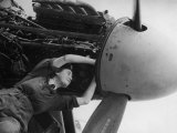 Women's Auxiliary Air Force Plane Mechanic Checking Wiring of a Mosquito Engine