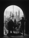 Men Unloading Coffee at Brooklyn Dock View of Downtown Manhattan in Background