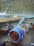 Workers Building the Engine of a DC-8 Passenger Jet at the Douglas Aircraft Plant