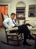 President John F Kennedy Sitting in Rocking Chair in His White House Office