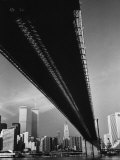 Pre 9/11 View Beneath the Brooklyn Bridge Facing Lower Manhattan
