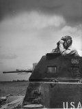 Troop Member Standing Up  Out of the Tank  Looking Through His Binoculars